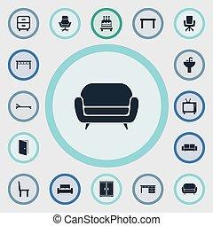 trestle, jogo, furnishings, poltrona, simples, escritório,...