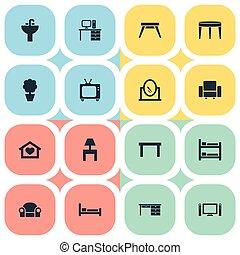 trestle, jogo, furnishings, settee, simples, contemporâneo,...