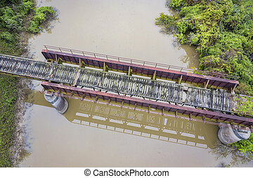 trestle of abandoned railway aerial view