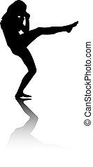 treten, frau, silhouette