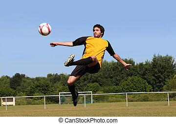 treten, kugel, fußballspieler, mittlere luft