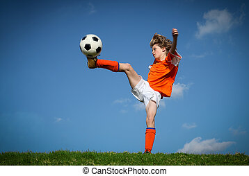 treten, spielende , football., kind
