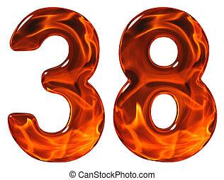 trettio, 38, eld, flammande, isolerat, glas, efterbildning, bakgrund, åtta, vit, siffra