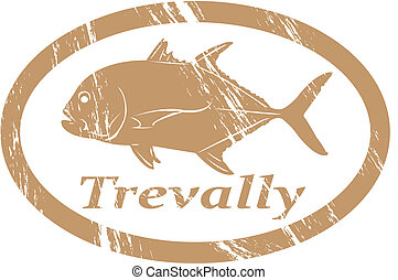 Trevally in grunge stamp effect.