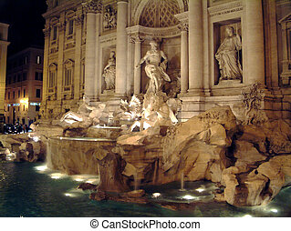 Trevi Fountain Rome - Trevi Fountain in Rome  at night