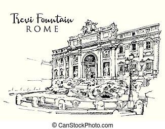 trevi, skiss, teckning, fontän, illustration, rom