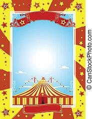 trevlig, affisch, cirkus