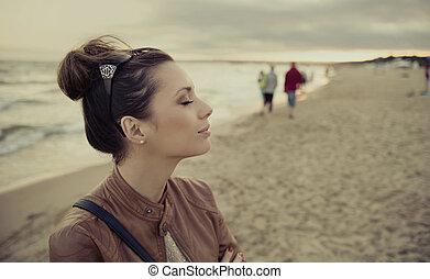 trevlig, foto, av, brunett, flicka, in, tillfällig,...