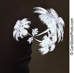 trevlig, palmträdar, symbol