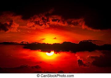 trevlig, solnedgång, över, mountains