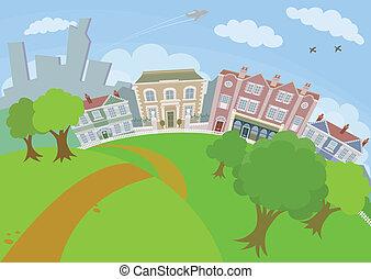 trevlig, stads- plats, med, parkera, och, hus