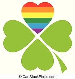 trevo, amor, homossexual, símbolo, afortunado, lgbt