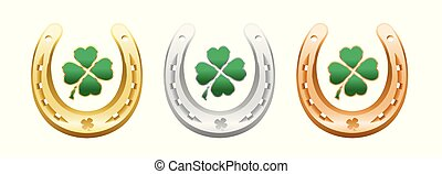 trevo, folha, afortunado, ferradura, quatro, sinal