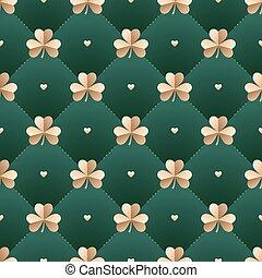 trevo, irlandês, illustration., coração ouro, padrão, st., seamless, escuro, experiência., vetorial, verde, patrick, day.