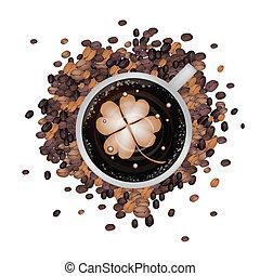 trevos, café, arte, latte, quatro, quentes, folha