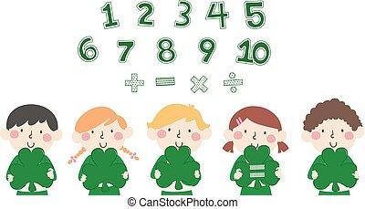 trevos, números, matemática, ilustração, crianças