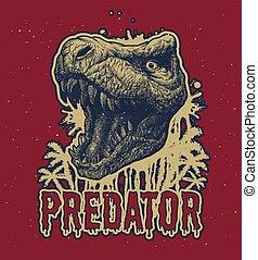 Trex Dinosaur Vector background. - Trex Dinosaur Vector hand...