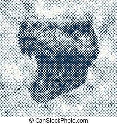 Trex Dinosaur Vector hand drawn background. - Trex Dinosaur...