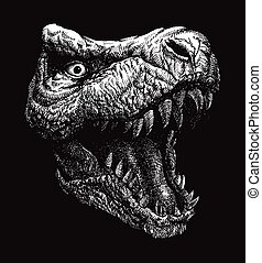 trex, dinosaur., wektor, tło., eps, 8