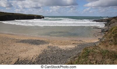 Treyarnon Bay Cornwall England UK Cornish north coast...