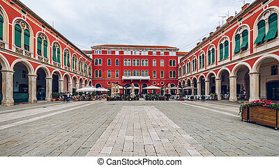 (trg, 広場, 都市, republike), 共和国, 分裂, 分裂, croatia., 光景