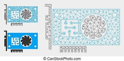 triángulo, acelerador, malla, 2d, vector, tarjeta, gpu, modelo, mosaico, icono