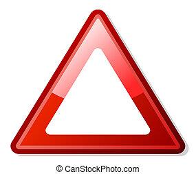 triángulo amonestador, rojo