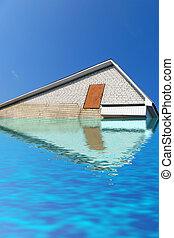 triángulo azul, cielo, techo, agua, debajo, ladrillo blanco