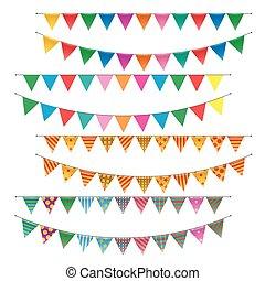 triángulo, banderitas, banderas, conjunto