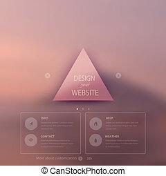 triángulo, blurred., icono, etiqueta, telón de fondo., corporativo, plano, options., insignia, móvil, minimalistic, multifunctional, fondo., vector, interfaz, sitio web, design., editable., medios, template., tela, vector.