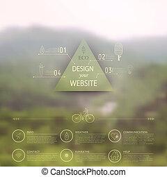 triángulo, blurred., opciones, icono, etiqueta, telón de fondo., corporativo, insignia, móvil, paisaje., minimalistic, multifunctional, vector, interfaz, sitio web, design., editable., medios, template., tela, montaña, vector.