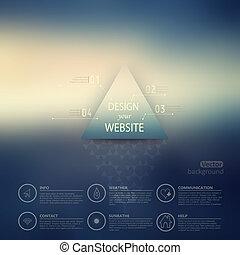 triángulo, blurred., telón de fondo., corporativo, insignia, móvil, minimalistic, fondo., multifunctional, vector, mancha, interfaz, sitio web, opciones, encima, design., editable., medios, template., tela, etiqueta, vector.