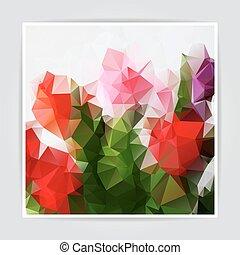 triángulo, colorido, resumen, polygonal, vector, plano de...