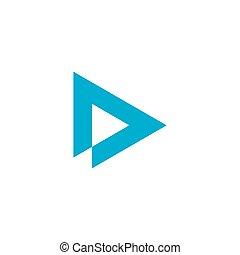 triángulo, delta, carta, d, vector, logotipo