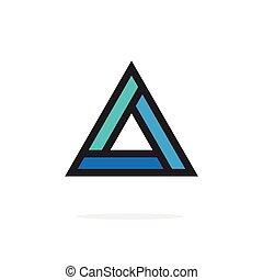 triángulo, figura, esquinas, contorneado, elemento,...