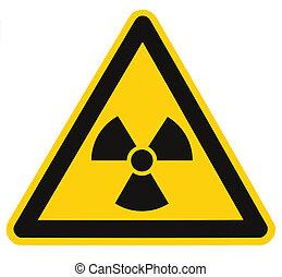 triángulo, macro, símbolo, radiación, aislado, muestra del...