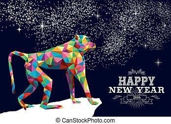 triángulo, mono, chino, color, año, nuevo, 2016, feliz