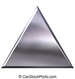 triángulo, plata, 3d