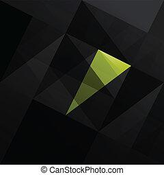 triángulo, resumen, negro, fondo.