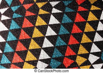 triángulo, tela, colorido, patrón, backgroud, textura