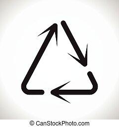 triángulo, uso repetido, flechas, señal, vector, flecha, circular
