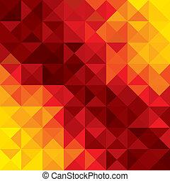 triángulos, naranja llena de color, resumen, formas, etc, vector, plano de fondo, geométrico, rombo, polígonos, rojo