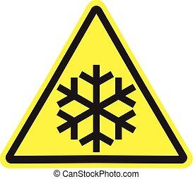 triângulo amarelo, sinal aviso, com, pretas, snowflake, isolado
