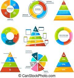 triângulos, piramides, e, redondo, elementos, para, infographics