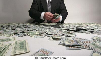 tri, business, argent, personne, lot, dénombrement