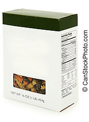 Add text blank label box of tri colored spiral noodles with nutrition facts. 16 oz box.