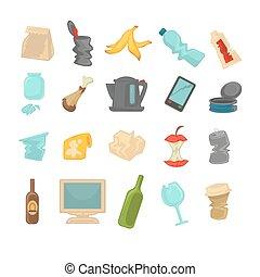 tri, déchets, nourriture, métal, gaspillage, papier, verre