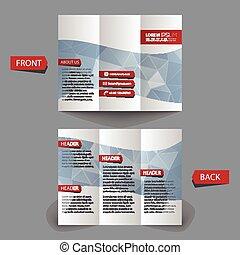tri, dobrar, folheto, design.