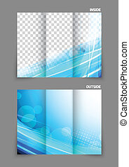 Tri-fold brochure - Abstract tri-fold wave blue brochure for...