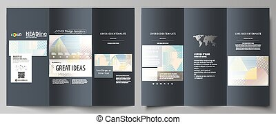 Tri-fold brochure business templates on both sides. Easy editable abstract vector layout in flat style. Minimalistic design with lines, geometric shapes forming beautiful background.